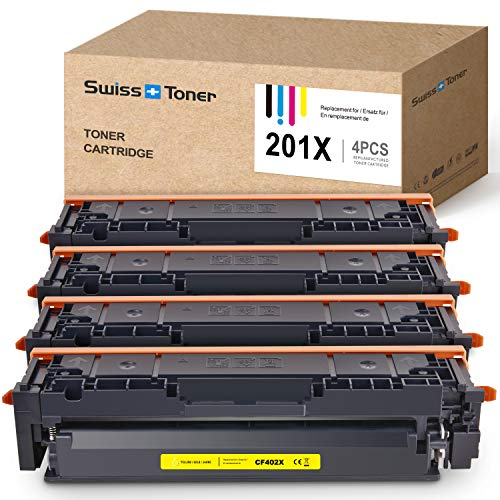 SWISS TONER CF400X Cartuchos de tóner Compatible con HP 201X 201A CF400A para HP Color Laserjet Pro M277DW M277N M252DW M252N M274N M250 M252 M252DN M270 MFP M274N M274DN, Negro/Cian/Magenta/Amarillo