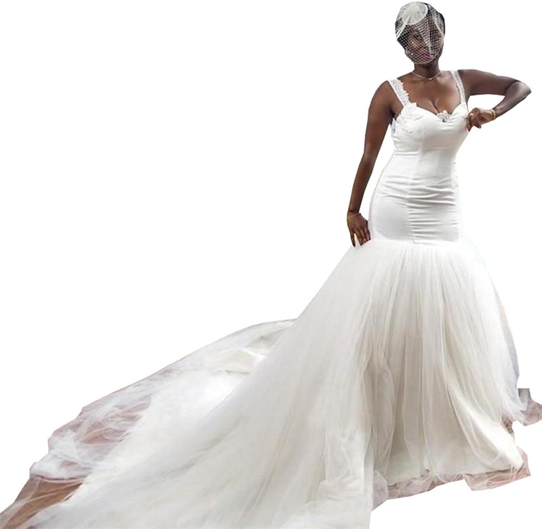 Ellystar Women's New Mermaid Tulle Sleeveless Backless Sweetheart Bridal Dresses
