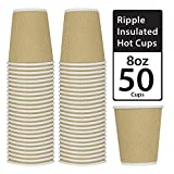 Disposable Ripple Insulated Cup - 8oz 50 Pack Kraft Brown - Hot Beverage Drinking Cups - Insulated Corrugated Cups (50 Count, 8oz, Kraft)