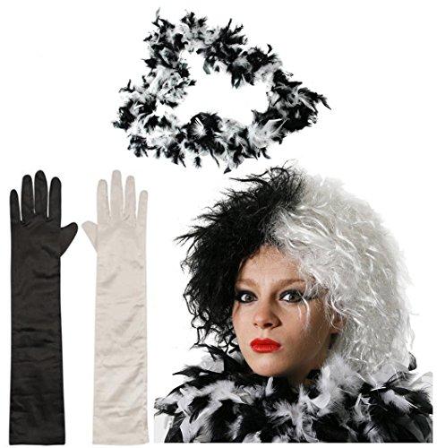 0207VP2NRGQ DÉGUISEMENT Cruella Evil Lady Perruque pour Chien Noir/Blanc 1 X Noir 1 X Blanc Gant Gant Blanc/Noir Imitation-BOA À Plumes-Cruella DEVILLE Evil Movie Character Fantaisie