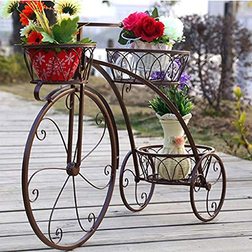 Xuping smeedijzeren fiets bloem standaard, 3 gelaagde plant bloempot stand moderne decoratieve tuin patio kleine fiets display stand houdt 3 bloempot