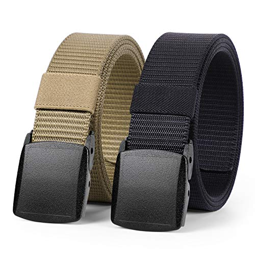 WHIPPY 2 Pack Nylon Belt Outdoor Military Web Belt with YKK Plastic Buckle Men Tactical Webbing Belt in 1.5 Inches Width (Black Coyote Brown, Fit Pants Below 40 Inches)