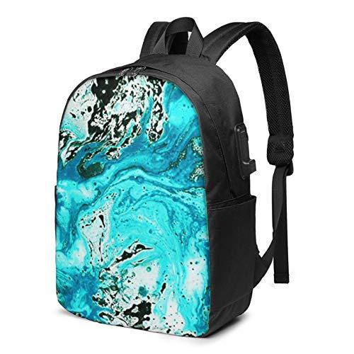 WEQDUJG Mochila Portatil 17 Pulgadas Mochila Hombre Mujer con Puerto USB, Pintura Asombrosa de mármol veteado Mochila para El Laptop para Ordenador del Trabajo Viaje