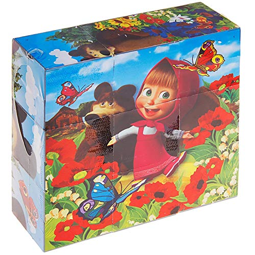 Russian Stacking Blocks for Kids - Masha and The Bear Toy Cube Jigsaw Puzzles Educational Preschool Toy