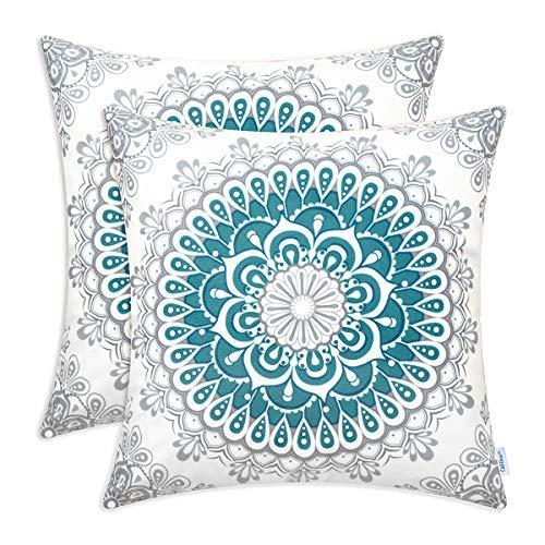 Juego de 2 fundas de almohada de forro polar acogedoras para sofá, cama, sofá, decoración de casa de campo, medallón floral, brújula, estilo mandala, 45,7 x 45,7 cm, color verde azulado