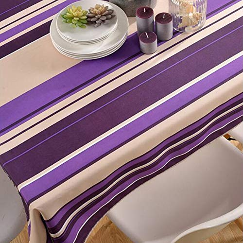 Nappe de tableNappe imprimée en nappe de table basse en polyester à rayures imperméable et résistante à l'huile,purplestripes,130cm*180cm