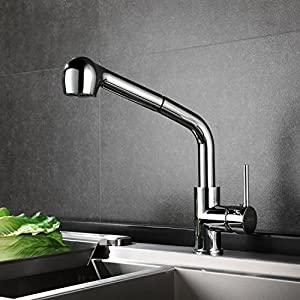 HOMFA Grifo de Cocina Extraible 360° Giratorio Grifo Monomando de Fregadero Agua Fría y Caliente Grifo para Fregadero con Ducha Cromado 47.5 x 33.5 x 5cm
