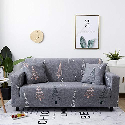 Fundas de sofá elásticas 2 plazas(Arbol de Navidad Gris) Estampadas Funda de sofá Universal Ajustables Fibra superfinaToalla de sofá Antideslizante
