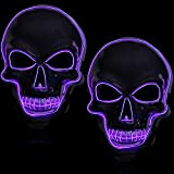 2 Pieces Purple Halloween LED Light Up Mask Glow In the Dark Scary Skull Mask Wire Control Mask Halloween Cool Light Mask Creepy Cosplay Mask for Festival Halloween Costume Masquerade Parties