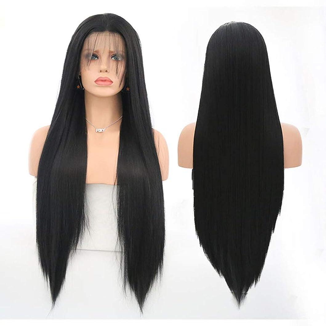 速記フィッティング宙返り合成耐熱天然高品質かつらのための女性の長いストレートヘアウィッグ