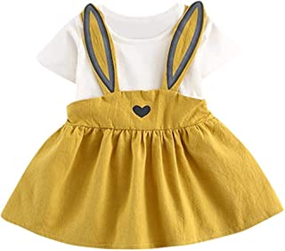 Newborn Toddler Baby Girls Summer Casual Cute Rabbit Ear Heart Strap Dress Clothes 0-24 Months