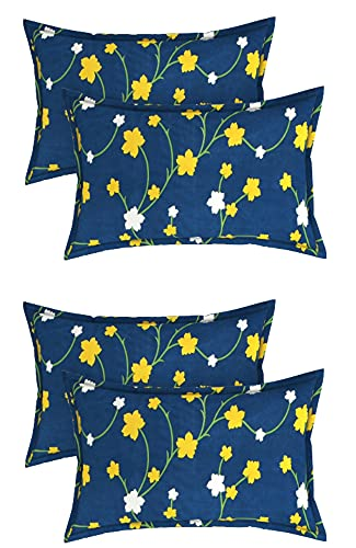 BSB HOME Cotton Printed 160 TC Standard   Regular   King Size Pillow Cover Set of 4 Piece (18×28 Inches, Blue, Yellow and White)