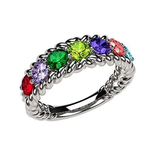 Rope Mothers Birthstone Ring