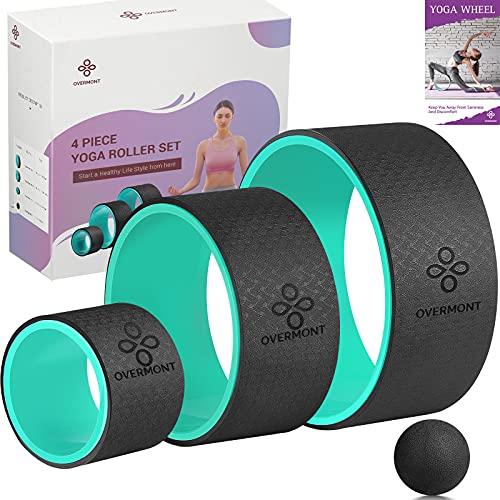 Overmont Ruota Yoga Set 3 Confezione Yoga Wheel in Schiuma Perfetti per Schiena Stretching e Fitness, Meditazione Pilates, Aumentano Forza e Flessibilità, Palla da Massaggio Inclusa