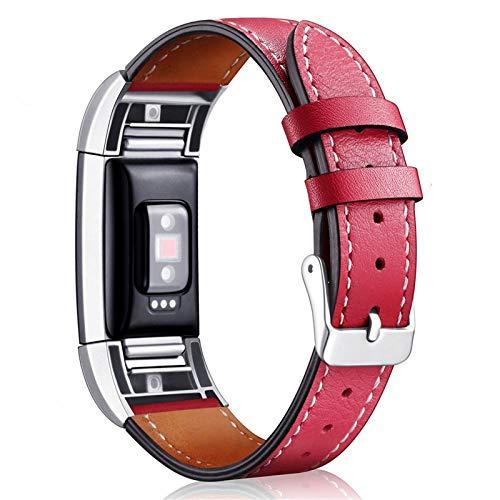 XIALEY Correas De Cuero Compatible con Fitbit Charge 2, Banda De Cuero Genuino Reemplazo De La Pulsera Accesorios Mujeres Hombres Brazalete De Reloj Clásica para Charge2,F