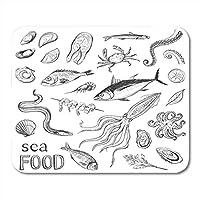 マウスパッドラバーミニ長方形スケッチ集海の食べ物手の絵魚と料理ゲームノートブックコンピュータアクセサリーバッキング