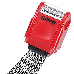 Identity Protection Roller Stamp Lionergy Wide Roller Identity Theft Prevention Security Stamp (Red Roller Stamp)
