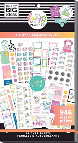 ME & MY BIG IDEAS PPSV-175-3048 Happy Planner STCKRS, Fitness Workout, 946/Pkg