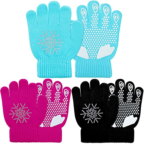 3 Pairs Kids Anti-skid Magic Kids Gloves Winter Warm Stretchy Knit Gloves Rhinestone Snowflake Mittens for Boys or Girls (Large)