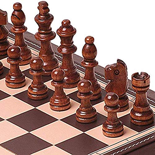 Cutfouwe Juego de ajedrez Juego de Mesa para niños Diseños Adultos Ajedrez Pantalla portátil Pantalla Plegable de Plegado Conjunto de ajedrez magnético Juego,Marrón