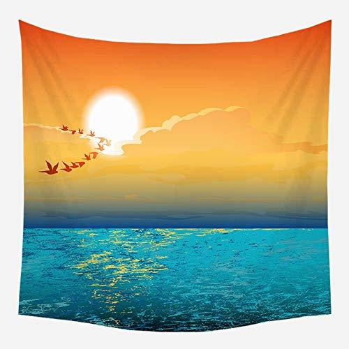 Tapiz de árbol de coco colgante de pared paisaje de puesta de sol tapiz de bosque playa estilo bohemio tela de fondo decorativo a13 150x200cm