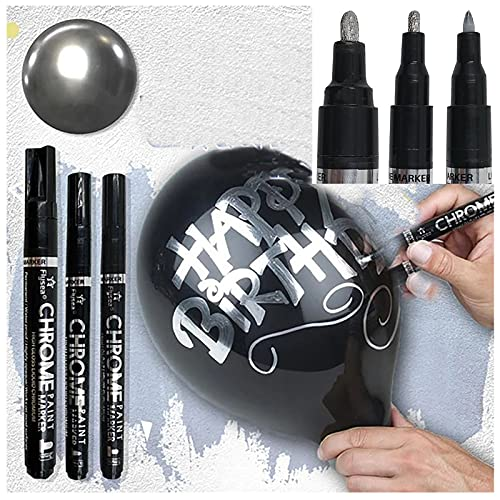 Silver Art Liquid Mirror Chrome Marker, Chrome-plated DIY Mirror Pen Reflective Paint Pen Quick Dry Highlight Pen for on Any Surface, Metal, Glass, Wood, Stone, Plastic, Paper, Balloon (All Size Set/3Pcs)