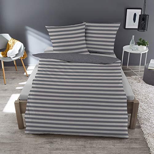 Dormisette Melange Flanell Wendebettwäsche Streifen anthrazit 1 Bettbezug 155 x 220 cm...