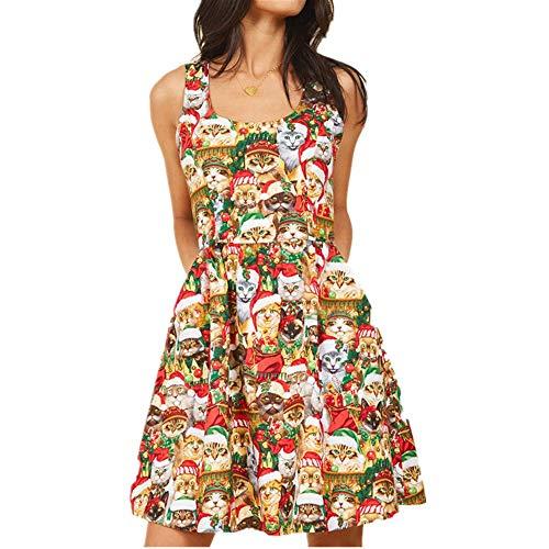 NOBRAND Vestido de mujer para primavera y verano con falda floral de gatito