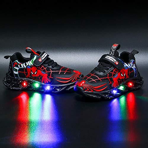 Kinder-Turnschuhe mit LED-Licht, blinkende Schuhe, für Jungen und Mädchen, Spinnenschuhe, leger, leicht, atmungsaktiv(Size:24,Color:Schwarz)