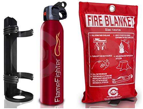 Premium FSS UK 500 g ABC Powder Fire Extinguisher & 1m x 1m Fire Blanket....