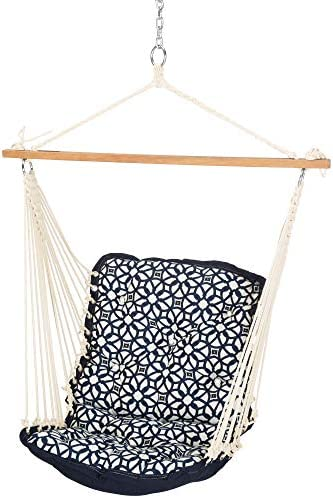 Nags Head Hammocks Luxe Indigo Sunbrella Tufted Single Swing with Free Hanging Hardware 350 product image
