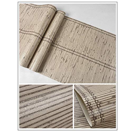 3D Tapete wasserdicht simuliertes Bambusweben japanischer Stil Schlafzimmer Tatami Arbeitszimmer Teehaus Hintergrundwand Dekoration Bekleidungsgeschäft PVC kleberfrei 0.53 * 9.5m Khaki 8 8124