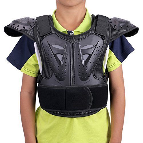 WINGOFFLY Kids Chest Spine Protector Body Armor Vest Protective Gear for Dirt Bike Motocross Snowboarding Skiing, Black S