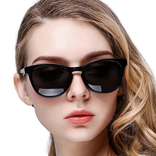 KANASTAL Sonnenbrille Damen Polarisiert Klassischer Retro-Modus Unisex mit UV400 Schutz (Schwarz Glänzend)