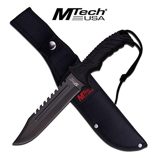 MTech USA Outdoormesser MT-20-57 Serie, Messer NYLON FIBRE Griff SCHWARZ, scharfes Jagdmesser, Taschenmesser 17,78 cm ROSTFREI Klinge Feststehend Halbgezahnt, Überlebensmesser für Angeln/ Jagd