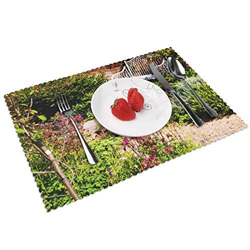Manteles Individuales Ladrillo de Banco de jardín Aislado inglés, Mantel Individual Antideslizante Resistente Al Calor Salvamanteles Juego De 4 para La Mesa De Comedor De Cocina, 45x30 Cm