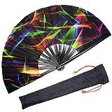 OMyTea Großer Bambus-Handfächer für Herren/Damen, Chinesischer japanischer Handfächer mit Stoffhülle, elektronische Tanzmusik-Festivals, Partys, Aufführungen, Dekorationen, Geschenk (bunte Fantasie)