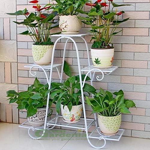 Green Gardenia Iron Plant Stand/Pot Stand (6 Pot Holder White)