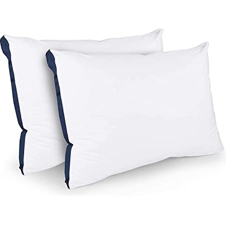 Utopia Bedding Sleeping Pillows 2 Pack - Cotton Blend Cover Bed Pillows - Premium Quality Soft Pillows for Front, Back and Side Sleepers (Navy Blue, 45 x 66 cm)