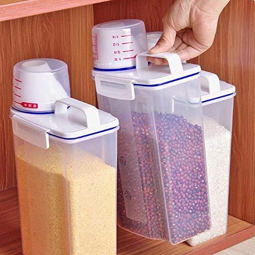Rice Silos Contenitori Set Airtight Rice Barrel Dry Grain Dispenser addensare Riso cilindro trasparente contenitore di alimento di immagazzinaggio con tazza di misurazione Beccuccio for Farina Zuccher