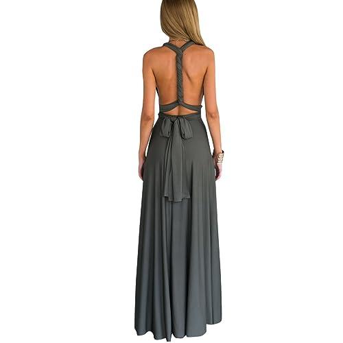 38a4cd00628 Women Transformer Infinity Evening Dress Multi-Way Wrap Convertible Halter  Maxi Floor Long Dress High