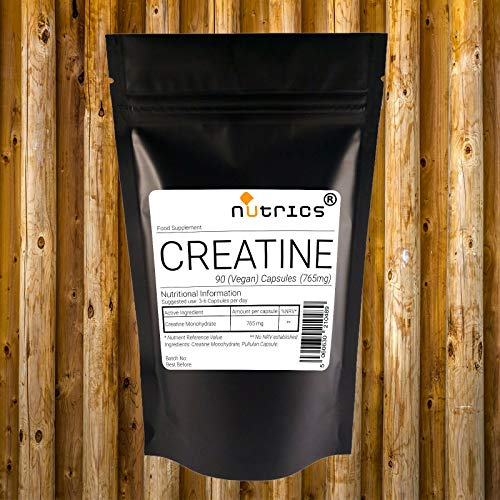 Nutrics CREATINE Monohydrate 765mg | 180 Capsules (2 Month Supply) | Made in The UK by Nutrics Laboratories | Suitable for Halal Kosher