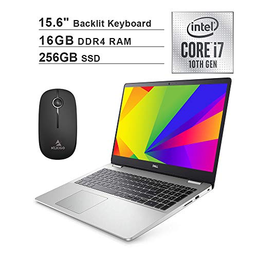 2020 Dell Inspiron 15 5593 15.6 Inch FHD 1080P Laptop (Intel Core i7-1065G7 up to 3.9GHz, 16GB RAM, 256GB SSD, Backlit KB, FP Reader, WiFi, Win10) + NexiGo Wireless Mouse Bundle