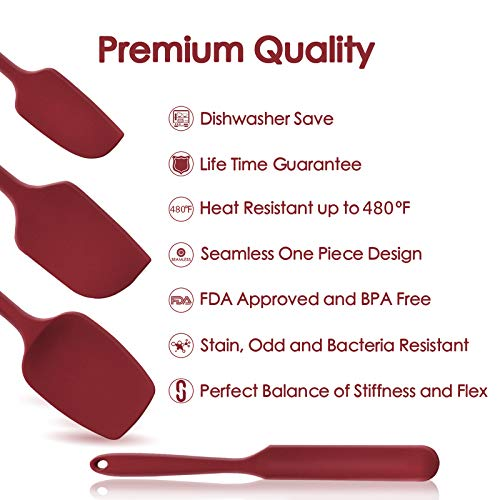 U-Taste 480ºF Heat-Resistant Silicone Spatula set- Seamless One Piece Design, Non-Stick Silicone Rubber with 18/8 Stainless Steel Core (Red)