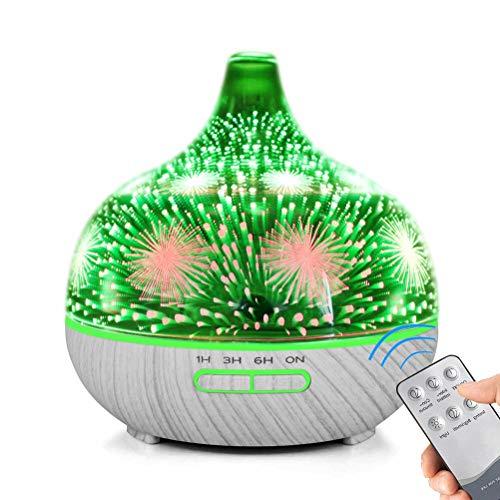 400ml Aroma Diffuser für Ätherische Öle, 3D Glas Aromatherapie Diffusor Luftbefeuchter mit Fernbedienung, 7 Farbwechsel Feuerwerk-Effekt Duftlampe Leise 4 Timer Waterless Auto-Off, Weiße Holzmaserung