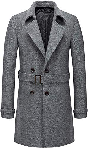 GOERTPO Men's Gentle Notched Collar Double Breasted Slim Splited Wool Blend Trench Coat with Belt