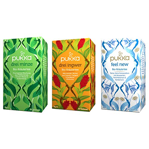 Pukka Bio-Tee Set Bauchgefühl mit den Tee-Sorten Drei Minze, Drei Ingwer und Feel New. Auswahl an Bio-Kräutertees, 100% bio, fair und nachhaltig (3 Teepackungen à 20 Teebeutel)