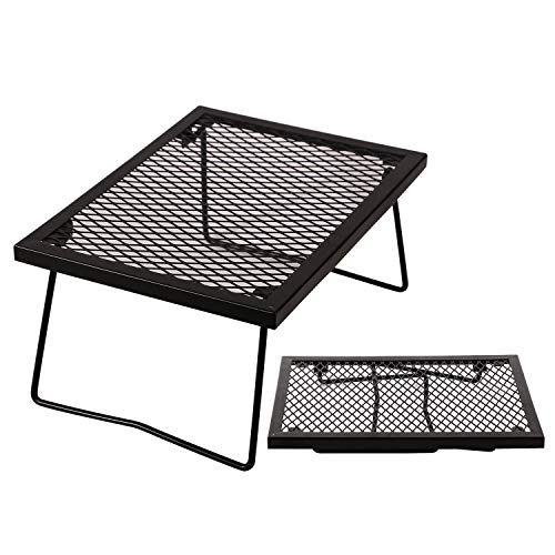 Domaker Folding Campfire Grill,Heavy Duty Portable Camping Grill 304 Stainless Steel Grate with Legs,Black