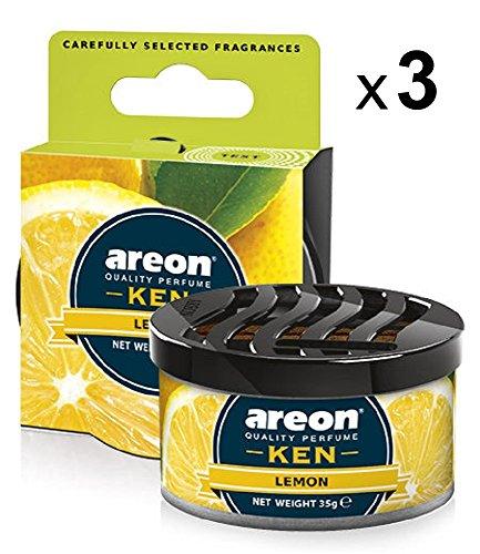 Areon Ken Ambientador Coche Limon Hogar Aire Olor Cítrico Lata Debajo Asiento Casa Perfume Original Amarillo 3D ( Lemon Pack de 3 )