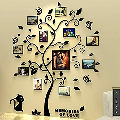 3D Wall Stickers Large Family Tree DIY Acrylic Wall Decal with Photo Frame Home Decor Art (Large, Black Tree with Black Cat)